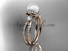 14kt rose gold diamond pearl unique engagement ring, wedding ring AP146 - AnjaysDesigns