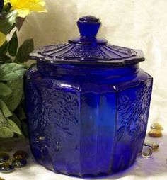 cobalt blue love it. I have this same cookie jar in pink,It was my grandfathers.I believe my mom called it depression glass(? Bottles And Jars, Glass Bottles, Perfume Bottles, Blue Cookies, Blue Dishes, White Dishes, Cobalt Glass, Vintage Glassware, Antique Bottles