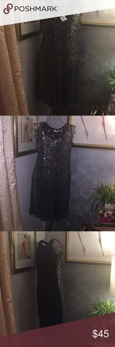 silver and black Calvin Klein sequine dress Brand new silver and black Calvin Klein sequine dress with tag. The tag states medium but runs large. Calvin Klein Dresses Midi