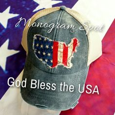 Women Distressed Trucker USA American flag Patch cap Hat Embroidery a621609af5a0