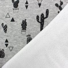 Tissu sweat envers minkee Cactus - gris x 10cm