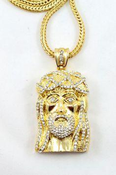 Gold Jesus Pendant with franco chain. Hip Hop style Jesus Pendant necklace