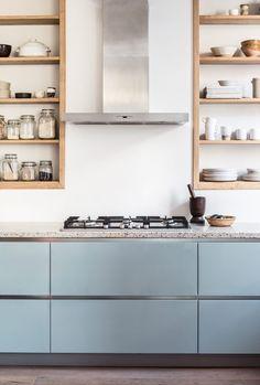 Old Project, Fresh New Update - Avenue Lifestyle // terrazzo countertops and light blue-grey kitchen cabinets Blue Gray Kitchen Cabinets, Grey Cupboards, Terrazzo, Modern Kitchen Design, Interior Design Kitchen, Home Decor Kitchen, Home Kitchens, Light Blue Kitchens, Appartement Design