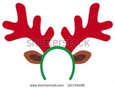 reindeer mask (funny christmas reindeer horns) - stock vector