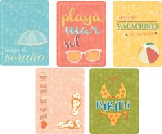 Gratis imprimibles para project life tema verano, free spanish cards project life or journaling ¨summer¨
