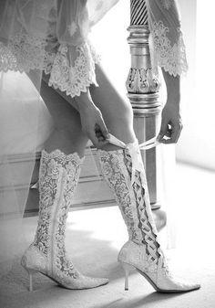 lacey wedding heeled boots