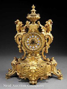Antique Clocks : Renaissance Revival Gilt Bronze Mantel Clock : Lot 97 -Read More – Clocks For Sale, Old Clocks, Antique Clocks, Renaissance, French Clock, Classic Clocks, Retro Clock, Wall Clock Online, Mantel Clocks
