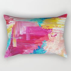 Buy ELATED - Beautiful Bright Colorful Modern Abstract Painting Wild Rainbow Pastel Pink Color Rectangular Pillow by ebiemporium. Worldwide shipping available at Society6.com. Just one of millions of high quality products available.