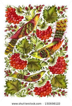 beautiful birds, Hand drawn, illustration in Ukrainian folk style - stock photo