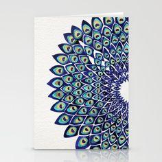 Peacock Mandala – Navy & Gold Stationery Card