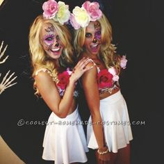 For this Sugar Skulls (Cross Bone Blondes) costumes I started with the top (bra).  I went to michaels and got fake flowers in assorted colors (red, ...