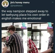 Nah they (joon and yoongi) were just making him do all of the talking (Starbucks, busses, dominos, etc) but one thing to always remember: tae gave his name as Vincent Vangogh and the cashier didn't even REACT Jung Kook, Fan Fiction, Bts Boys, Bts Bangtan Boy, Rapmon, Namjin, Bts Memes, Kdrama Memes, K Pop