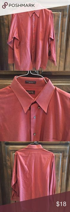Arrow Button Down Dress Shirt Men L $45! Arrow Button Down Dress Shirt for men- size Large - color: Rust- cotton/ poly- professionally dry cleaned and ready to wear - bought brand new at Macy's for $45! Arrow Shirts Casual Button Down Shirts