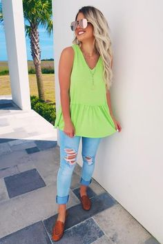 Share to save on your order instantly! Be Bright Tank: Neon Lime Neon Top, Tank Top Outfits, Warm Spring, Casual Tops, Navy And White, Latest Trends, Summer Outfits, Lime, Bright