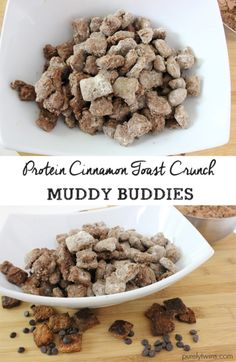 Skinny protein cinnamon toast crunch recipe for puppy chow or we like to say muddy buddies. A healthy snack to enjoy while traveling or enjoy a little for dessert after dinner. Quick Healthy Snacks, Protein Snacks, Healthy Sweets, Healthy Deserts, Healthy Baking, Healthy Meals, Trail Mix Recipes, Snack Recipes, Popcorn Recipes