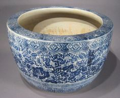 Japanese blue and white hibachi, Meiji period.