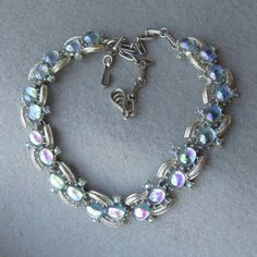 Spectacular Signed CORO 1950's Vintage Iridescent Blue Cabochon & Rhinestone Necklace