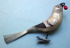 Antique Christmas Glass Bird Clip-On Tree Ornament with spun glass tail.