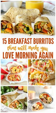 15 Breakfast Burritos That'll Make You Love Mornings Need a quick, portable breakfast in the mornings? Try these breakfast burritos. Healthy Breakfast Recipes, Healthy Recipes, Healthy Breakfast Burritos, Breakfast Burrito Recipes, Breakfast Ideas, Healthy Breakfasts, Avacodo Breakfast, Breakfast To Go, Healthy Make Ahead Breakfast