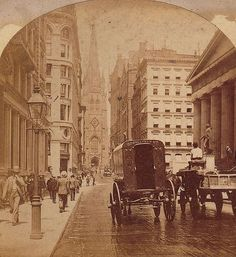 Wall Street, with pedestrians and horse-drawn vehicles. The statue of George Washington on the right, Trinity Church visible in the background. New York City, Vintage Pictures, Old Pictures, Old Photos, Berlin, Vintage New York, American History, British History, Vintage Photographs, Historical Photos