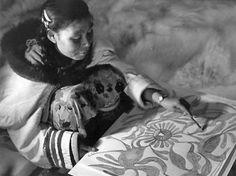 Early photo of Inuit artist Kenojuak Ashevak