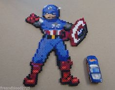 sandylandya@outlook.es  Captain America Perler Bead Art Sprite The First Avenger by Gamespritez