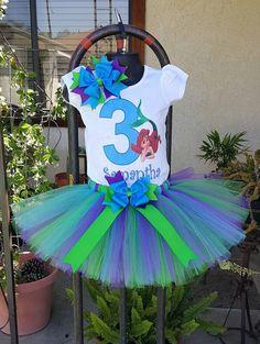 Tutu de cumpleaños de princesa ariel poco por PrettyTutuDesigns
