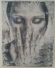 Encaustic and transfer of photocopied original graphite drawing , by @renaissancecreative on instagram