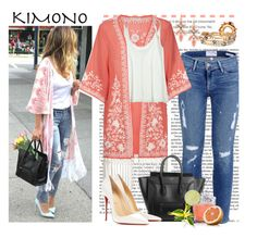 KIMONO by bamaannie on Polyvore featuring Calypso St. Barth, Frame Denim, Monsoon, Christian Louboutin, Stella & Dot, Ylang Ylang, kimono and contestentry