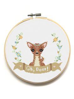 Oh, Deer!  Modern Cross Stitch Pattern from The Pinprickery