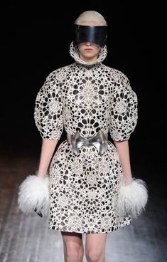 """Alexander McQueen """"Futuristic"""" Crochet Dress...crochet really isn't ever going to go out of style!"""