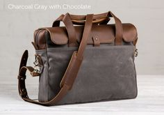 brown leather charcoal canvas laptop briefcase