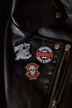 Forgotten Saints LA lapel pins. The best accessory for every leather jacket. Rock n Roll!!