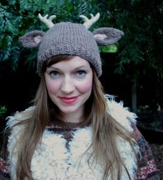 """""""Deer With Little Antlers Hat"""" from Tiny Owl Knits. Fab"""