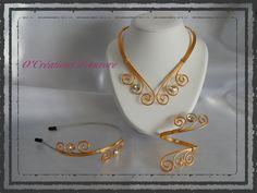 Parure Mariage 3 pièces en fil aluminium doré clair et or + strass : Parure par o-creations-d-aurore