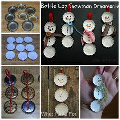 Bottle Caps Snowman Ornaments