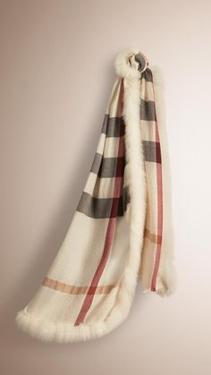 f495da438 Burberry Fur Trim Cashmere Check Scarf | Ivory Check | A made-in-Italy