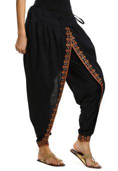 Dhoti pants - Printed Cotton Dhoti Pant In Black Salwar Designs, Kurti Designs Party Wear, Blouse Designs, Indian Designer Outfits, Indian Outfits, Dhoti Salwar Suits, Black Salwar Suit, Patiala Pants, Tulip Pants