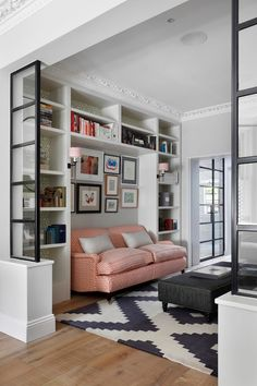 Built-in sofa nook Crittall-style glazing. Built In Sofa, Built In Shelves, Living Room Designs, Living Room Decor, Living Room Divider, Decor Room, Home And Living, Home And Family, Family Homes