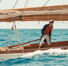 Pierre Casiraghi on the classic yacht Tuiga- Yacht Club de Monaco Classic Sailing, Classic Yachts, Yacht Boat, Yacht Club, Its A Mans World, Boat Design, Sail Away, Wooden Boats, Wooden Sailboat