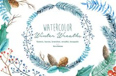 Winter Wreaths Watercolor Cliparts by Dora Katona on Creative Market