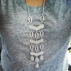 #stelladotstyle Kimberly necklace in silver over a grey t-shirt.
