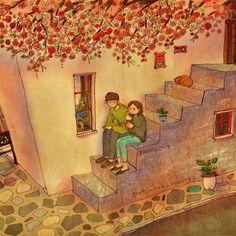 Nós nos sentamos na escada e eu tivemos um gelado. Quer um pouco? Não estou bem. Eu só vou ver você comer. Veja a ilustração: grafolio.com/works/183213