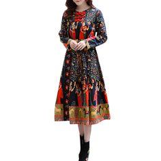 7d9e2137429 5XL плюс Размеры женская одежда модные Винтаж цветочный этнический  китайское платье пуговицы с круглым вырезом и