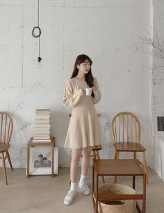 Korean Dress, Daily Outfit, Korean Style, Korean Fashion, Dresses With Sleeves, Shirt Dress, Coffee, Clothes, Outfits