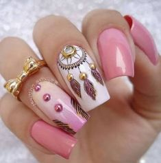 33 Ideas with Dream Catcher Nail Art French Nails, Dream Catcher Nails, Nailart, Creative Nails, About Hair, Manicure And Pedicure, Beauty Nails, Cute Nails, You Nailed It