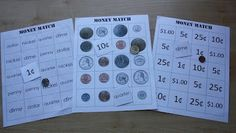 Money match game - match words to numbers, numbers to coins etc.