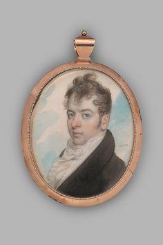 Mr. Cook 1810.   John Wesley Jarvis / Watercolor on ivory in gold locket; hair reserve verso