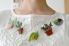 SUR MON PULL, IL Y A DES CACTUS DIY broches cactus sur www.lesyeuxenamande.com