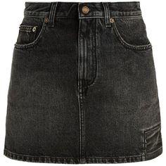 Saint Laurent Patch-detail denim skirt ($690) ❤ liked on Polyvore featuring skirts, mini skirts, faldas, black, denim mini skirts, denim skirt, yves saint laurent, patch skirt and rock and roll skirts